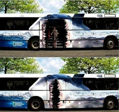 National Geographic Channel Shark Week - high impact interactive bus wrap.   Love this!    (source: labaq.com)