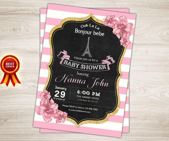 Paris Baby Shower Invitation Girl French Theme Shower Invite
