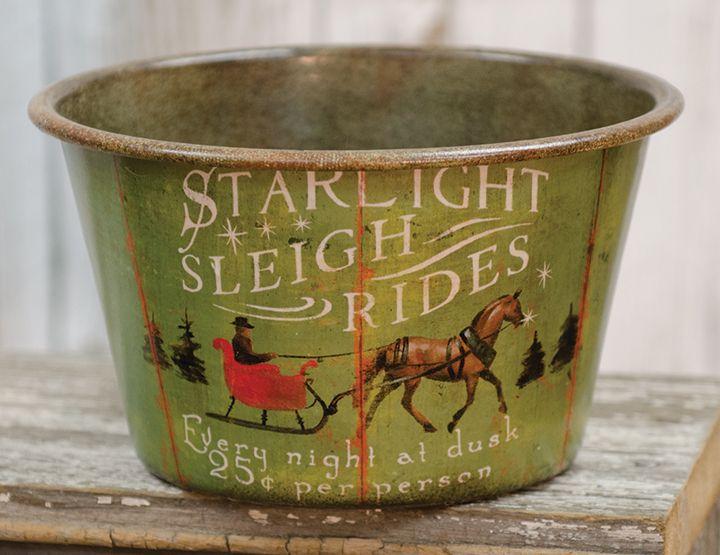 KP Creek Gifts - Sleigh Rides Vintage Tin Bowl