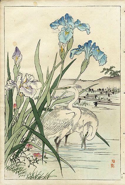 I like the irises and the placement of the heron amidst them. Bairei Kono - Iris and Heron 1889