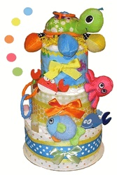 "Sea Life Diaper Cake - This fun, colorful 3 tier Sea Life Diaper Cake (Under The Sea Diaper Cake) features a sweet plush activity Turtle stroller toy and is ""loaded"" with high quality baby items and of course, lots of diapers! The new parents will be delighted to receive this impressive Sea Life Diaper Cake."