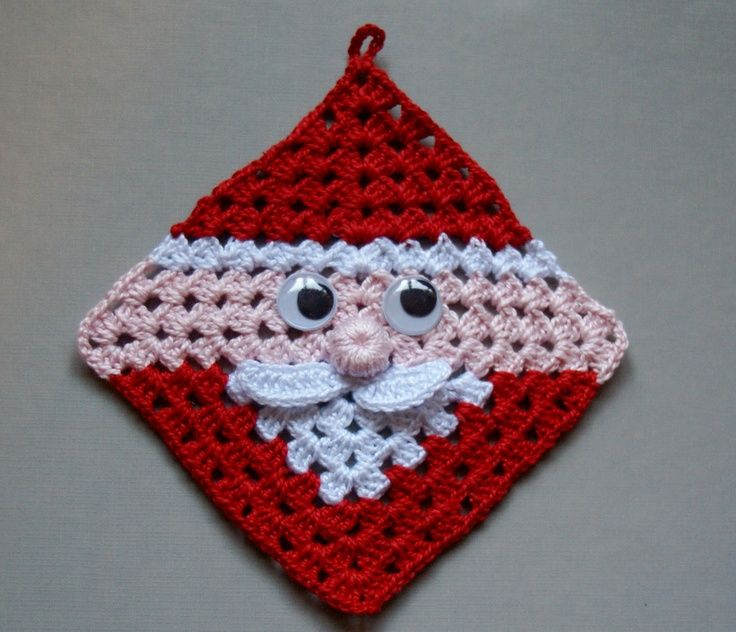 Free Crochet Santa Claus Coaster Pattern : santa crochet granny square free crochet santa claus ...