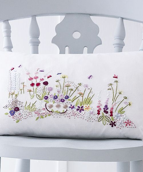 Mon Jardin embroidered linen cushion