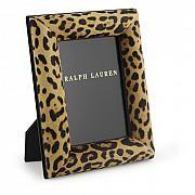 """Petit cadre photo Ralph Lauren en cuir et suède noir avec imprimé de léopard / Ralph Lauren small picture frame in black leather and suede with leopard print., 5"""" x 7"""""""