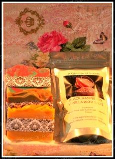 Chemical Free, Palm Oil Free gorgeous handmade Goats Milk Soaps.   These soaps are pure heaven for your skin.  Beautiful Gift Package consists of: 1 x Indulgence Strawberry Kiwi Goats Milk Slice 1 x Indulgence Mango Lime Goats Milk Slice 1 x Indulgence Lemon Slice Goats Milk Slice 1 x Black Raspberry Vanilla Bath Salts
