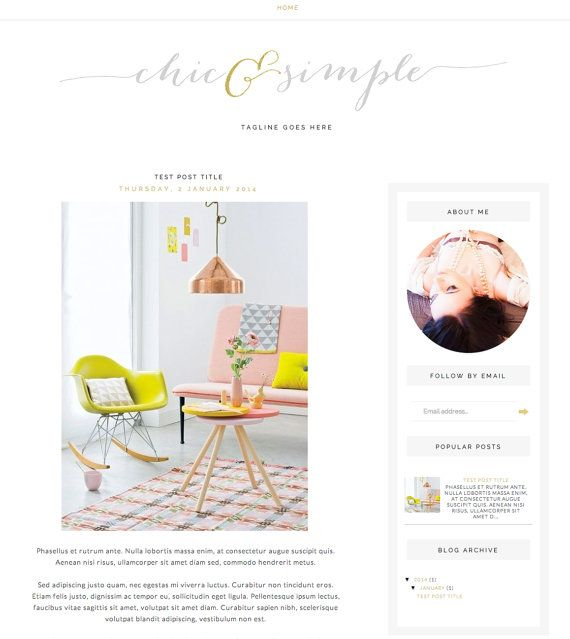 "Blog Template for Blogger ""Chic & Simple"" Blog Layout / Simple Blog Theme / Instant Download / Chic Blog Design on Etsy, $25.86"