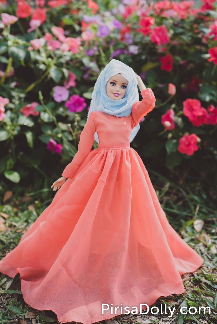 Handmade muslim orange  chiffon dress with blue hijab decoration with pearls for barbie , fulla and muslim barbie doll .