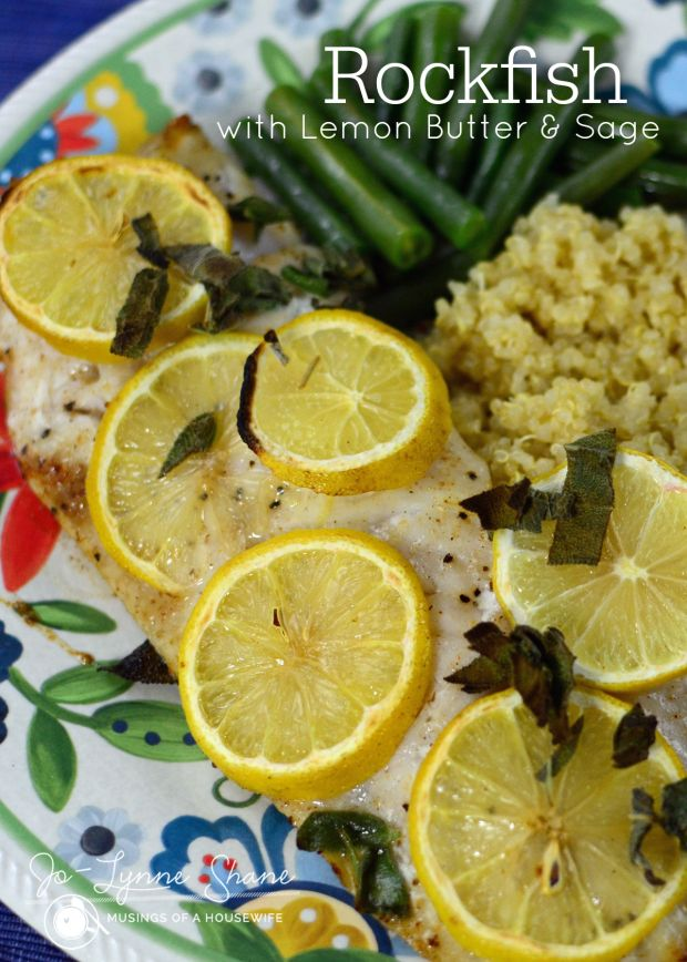 Rockfish with Lemon Butter & Sage recipe... this mild white fish is broiled in an easy lemon butter sauce and served it alongside roasted potatoes and steamed green beans — the perfect light summer dinner!