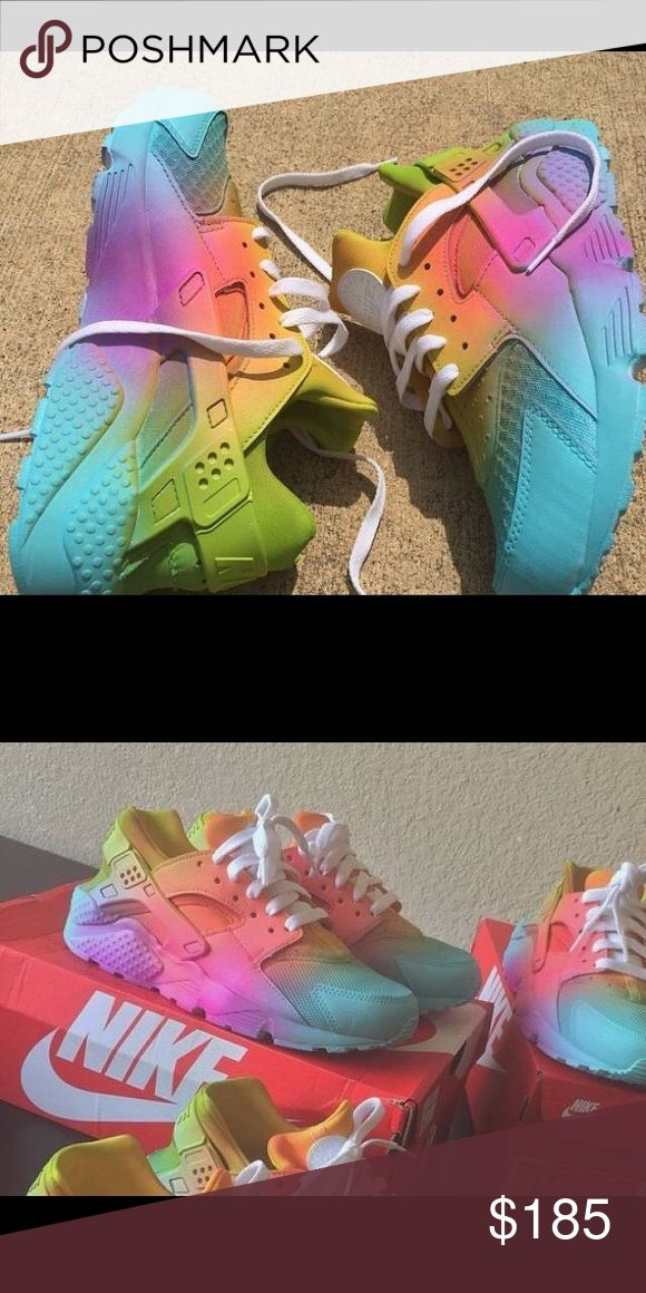 "Nike Huaraches rainbow days ""READ CAREFULLY!* IF INTERESTED PLEASE ORDER FROM MY PERSONAL SNEAKER SITE! : gothedomo.bigcartel.com  Sizes 4-13 Available. Any questions/inquiries email or text me at: domoartbiz@gmail.com or 202-465-2863. Nike Shoes Sneakers"