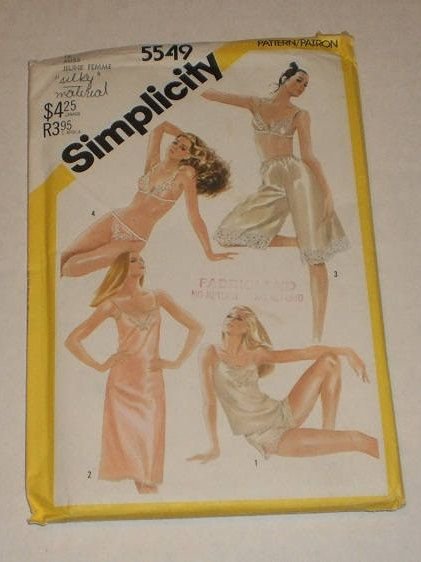 "Uncut, Vintage Simplicity Pattern #5549, Size 14, Slip, Camisole, Bra, Panties, Bikini, Culottes Slip, Bust 92cm (36"") Waist 71cm (28"") by TheShoppingMoll on Etsy"