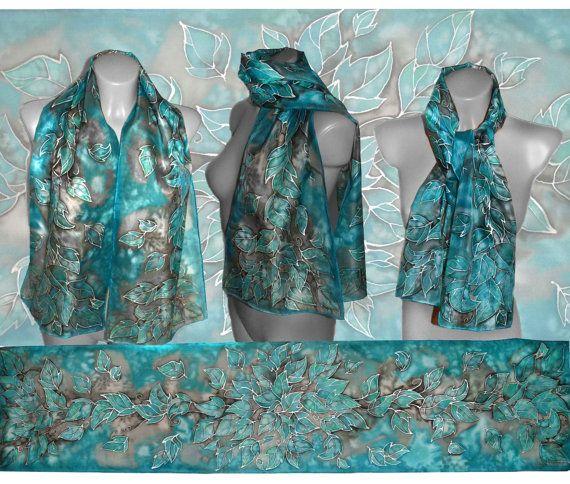 Handpainted silk scarf  Turquoise fairytale  silk by JankaLart