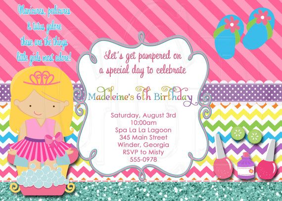 12 best images about Little Girls Pamper Princess Party on – Little Girl Spa Party Invitations