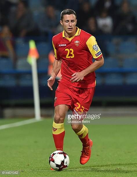 Adam Marusic of Montenegro in action during the FIFA 2018 World Cup Qualifier between Montenegro and Kazakhstan at Podgorica City Stadium on October...