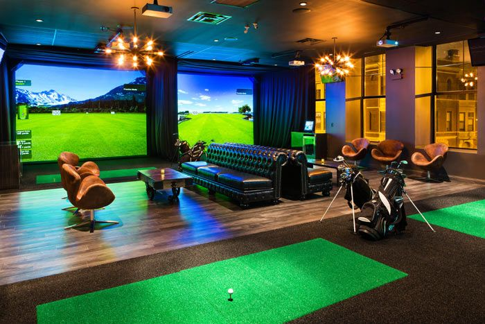 In Lincoln Park, Fairways has an upper-level golf lounge that holds 16 golfers and as many as 50 additional guests. The space has four high-definition golf simulators, a back bar slinging craft beer and cocktails, and a lounge area with a U-shaped leather banquette and a menu of contemporary American snacks. The main floor, equipped with booths, tables, and a slightly raised space with glass half-walls, is also available for private and semiprivate functions. #Chicago #NeoCon2016