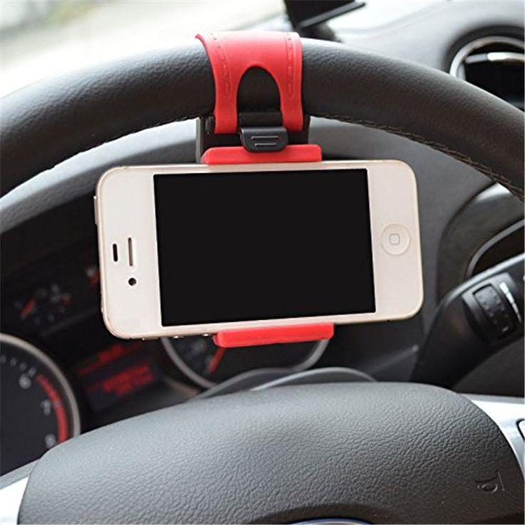 Universele Auto Stuurwiel Telefoon Socket Houder Navigeren Case iphone 4 5 6 6 S Plus Voor Samsung Galaxy S4 S5 s6 rand