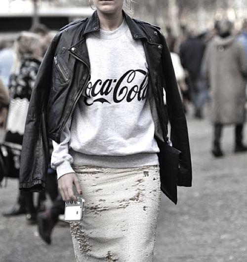 *contrasts, distressed pencil skirt, vintage sweatshirt, leather jacket