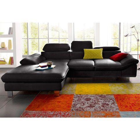 Canapé d'angle convertible imitation cuir, méridienne fixe à droite ou à gauche- Vue 1