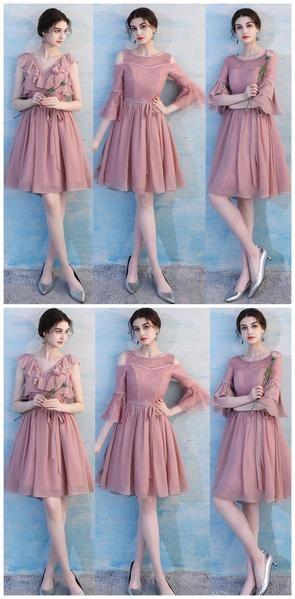 6701331ae835 Dusty Pink Chiffon Mismatched Simple Cheap Bridesmaid Dresses Online, WG513  #bridesmaid #wedding #bridesmaiddresses #cheapbridesmaiddresses  #weddingidea # ...