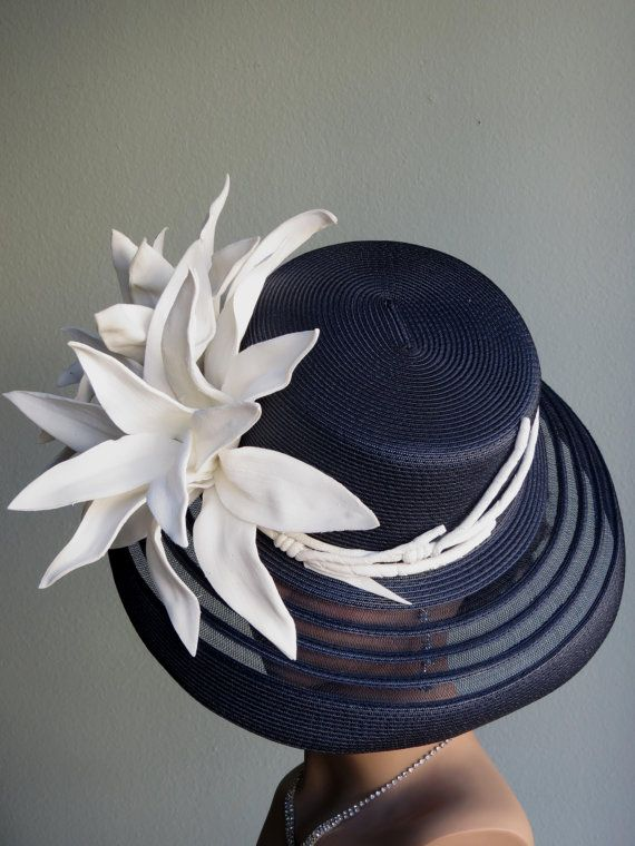 Navy Blue Wedding Head Piece Kentucky Derby by BridalWorldBoutique, $189.90