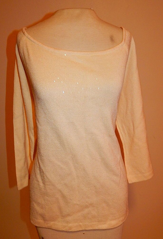 ST. JOHN COUTURE Ivory Knit Sequin Formal Blouse Top 16 Large #StJohn #KnitTop