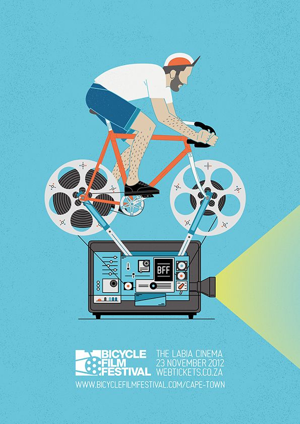 Bicycle Film Festival Poster by Alistair Palmer, via Behance