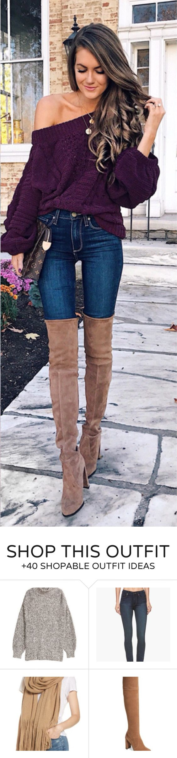 #fall #outfits women's purple knitted boat-neck jacket and blue jeans with pair of brown suede wide-calf boots outfit