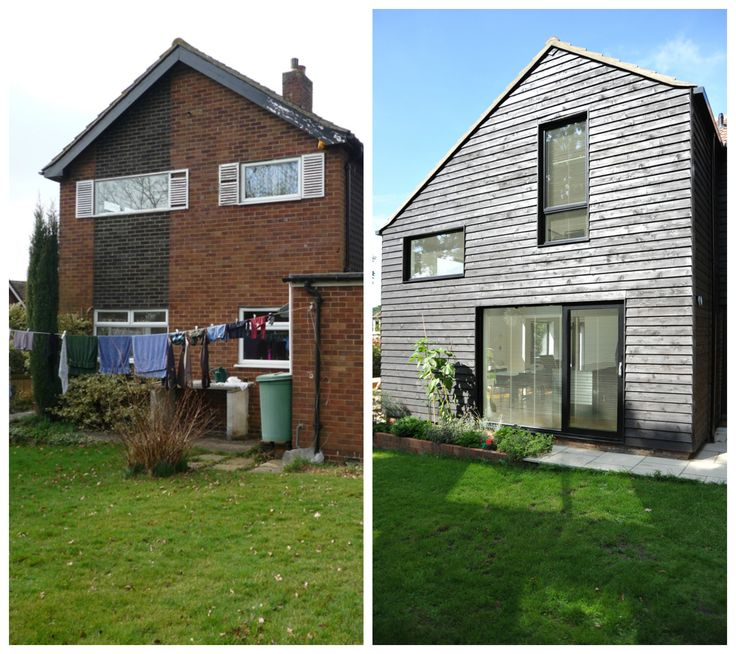 Before and after the addition of a 2 storey extension