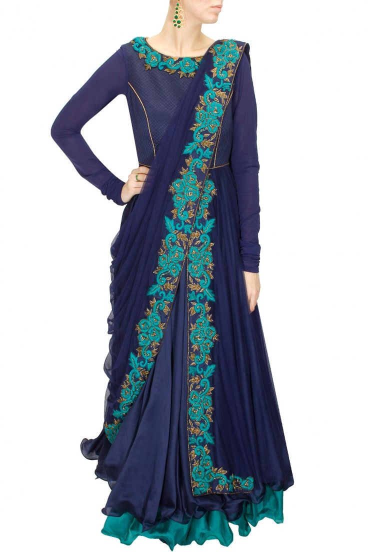 DRAPE 'N' DRAMA : Navy blue dabka and thread embroidered draped anarkali set by J by Jannat. Shop at www.perniaspopups.... #designer #jbyjannat #festive #couture #shopnow #perniaspopupshop #happyshopping