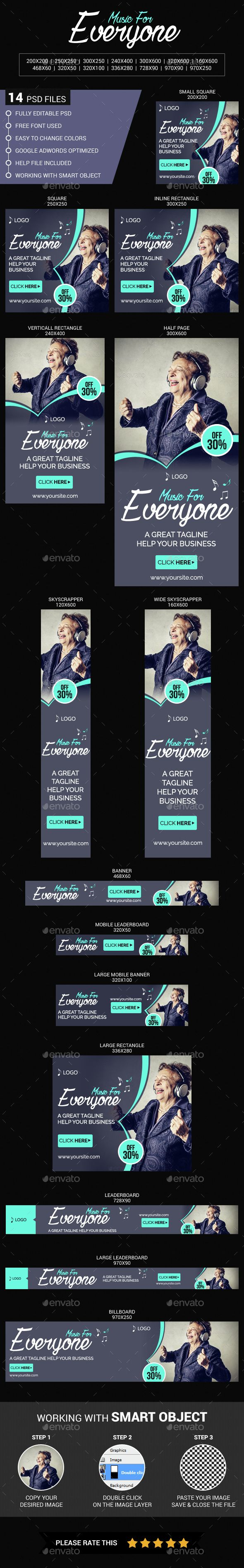 This is a Music web banners which is fully editable. Pack included: 14 PSD Files. 72 dpi. RGB Color Mode Easy Photo Replacement.