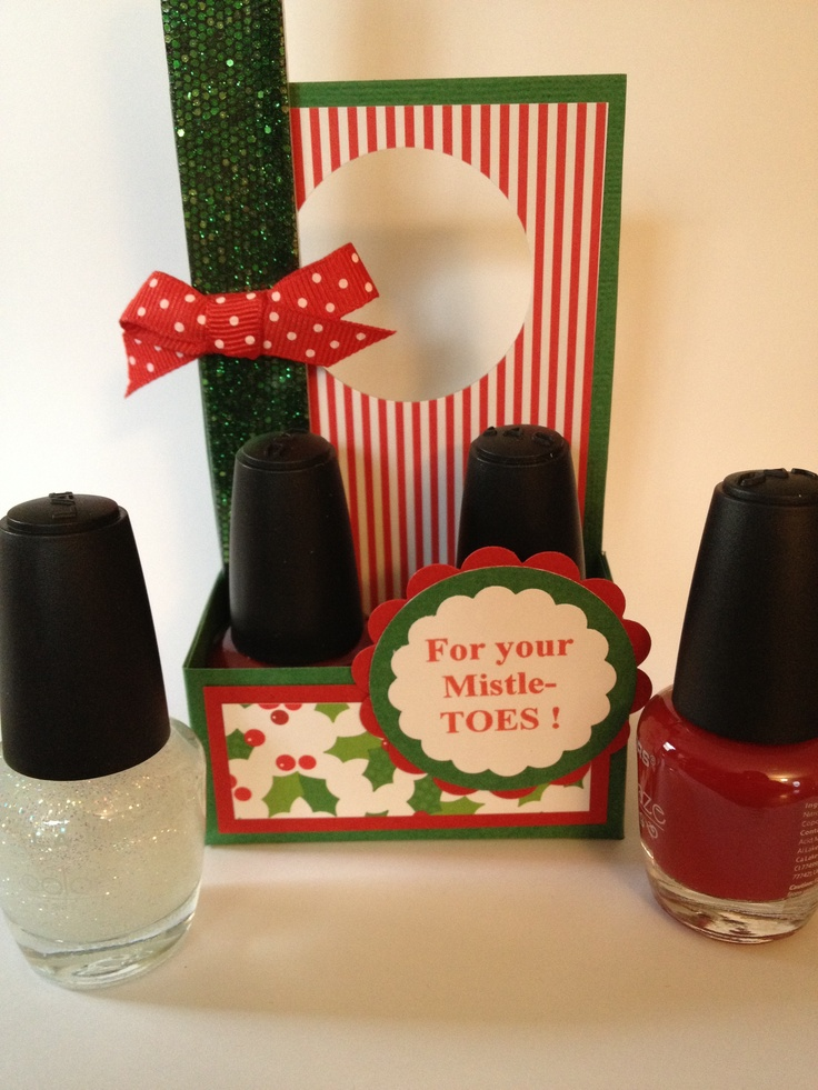 For your Mistle-TOES!  A cute & inexpensive gift I made today for the craft show. Great secret Santa gift too!