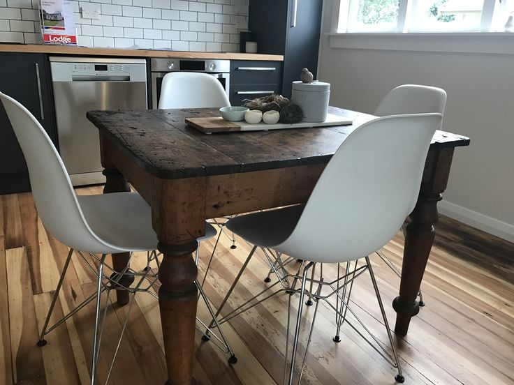 #Vintage dining table with #Eames #DSR chairs. #Eclectic, #modern feel while retaining #character