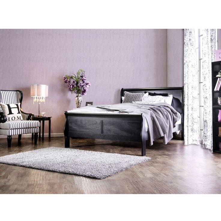 Furniture of America Mayday II Paneled Black Sleigh Bed (Queen)