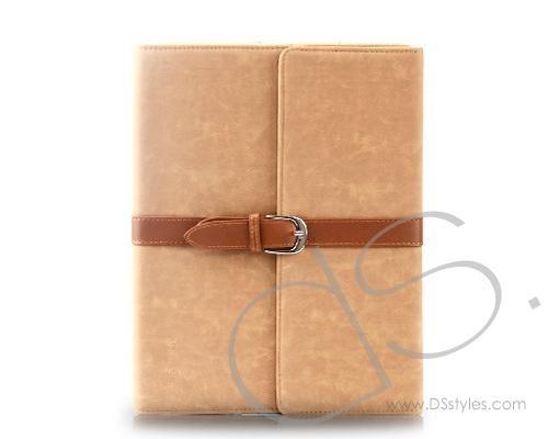 Armor Series iPad 2 New iPad Flip Leather Cases - Beige