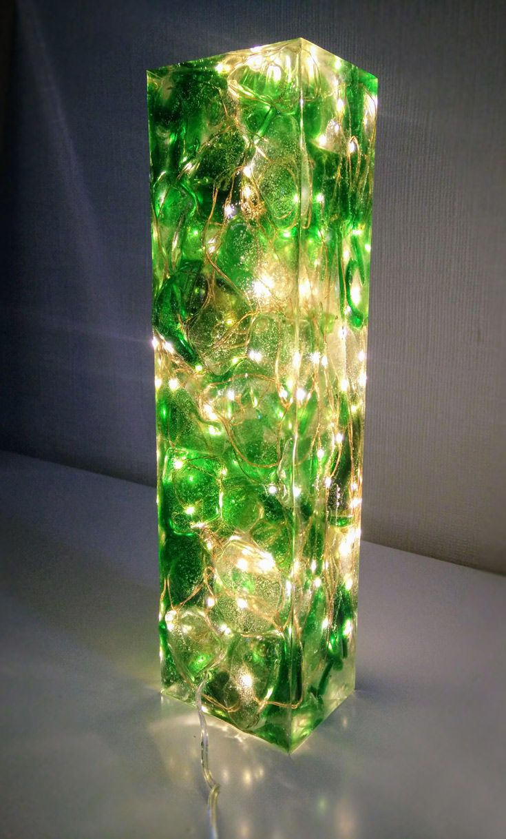 Sea glass and resin light sculpture coloured sea glass cast in