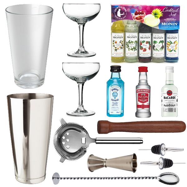 <strong>Cocktail Lovers Gift Pack</strong> - This isthe ideal gift idea. The set encompasses all the essential accoutrements required to make and shake the perfect selection of cocktails. This will surely impress your guests or family members.    1 x Monin Cocktail Set  1 x Cocktail Jigger  1 x Boston Cocktail Shaker Can 28oz  1 x Boston Cocktail Shaker Glass 16oz  2x Stainless Steel Freeflow Pourer  1 x Wooden Muddler 8″  1 x Cocktail Miking Spoon  1 x Hawthorne Strainer  2 x Cocktail…