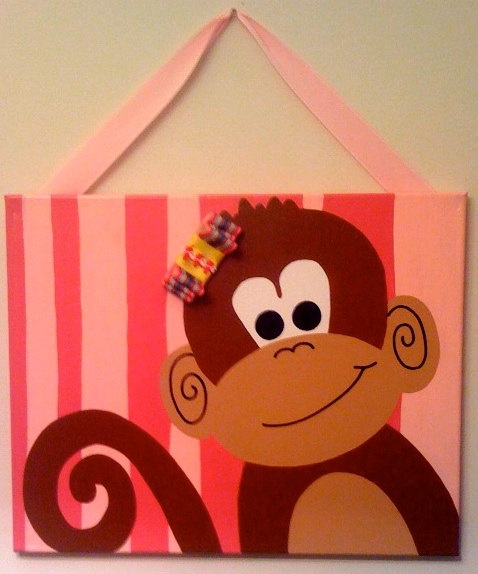Personalized Hand Painted Canvas  Monkey See Monkey by loveitbymo, $40.00