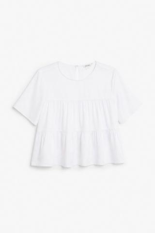 Monki Ruffled hem blouse in White