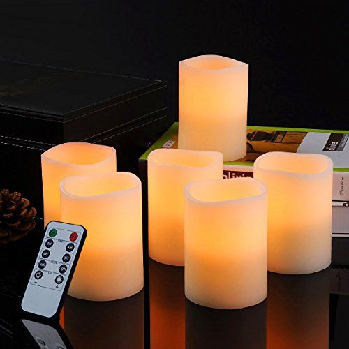"""Bingolife Real Wax Flameless Weatherproof Outdoor and Indoor LED Candles 3"""" x 4"""" with Remote Control & Timer - Set of 6 (Ivory)"""