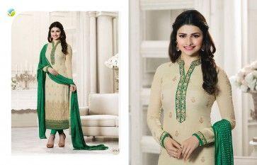 Unique designs of salar kameez. Shop this exquisite georgette green and cream designer salwar suit.