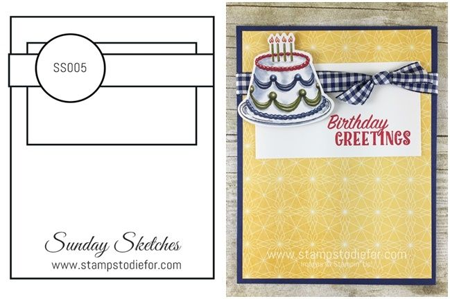 Sunday Sketches SS005 by Stamps to Die For - Birthday Delivery stamp set  Birthday Friends Framelits  Birthay Memories Paper by Stampin' Up!