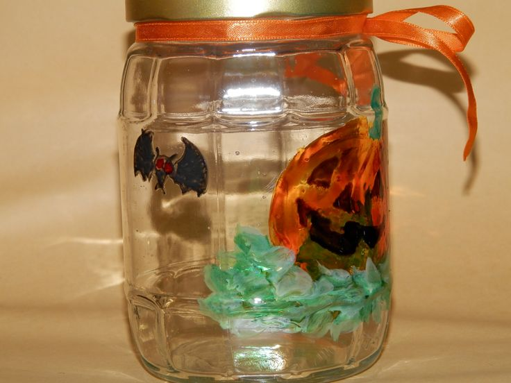 Halloween painted jar