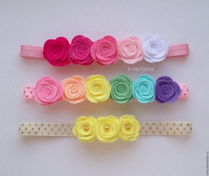 Купить Детская повязка с розочками - комбинированный, радуга, градиент, радужный, разноцветный, повязка на голову