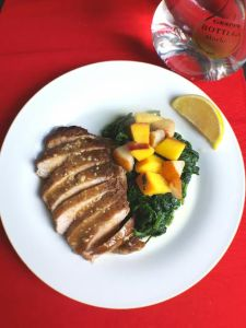 loin-chops-with-grappa-pan-sauce-sauteed-spinach-and-fruit