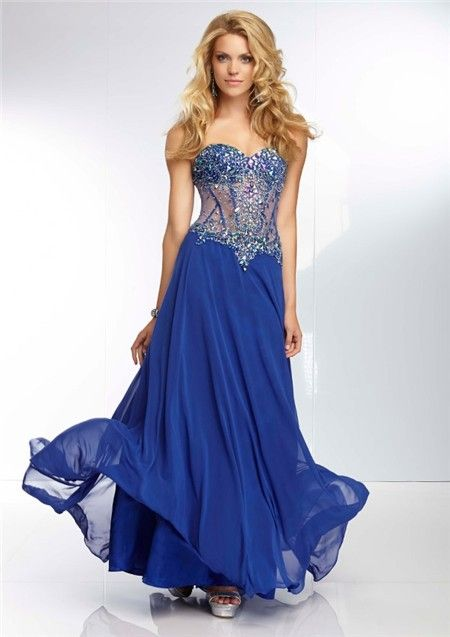 a line royal blue chiffon dress