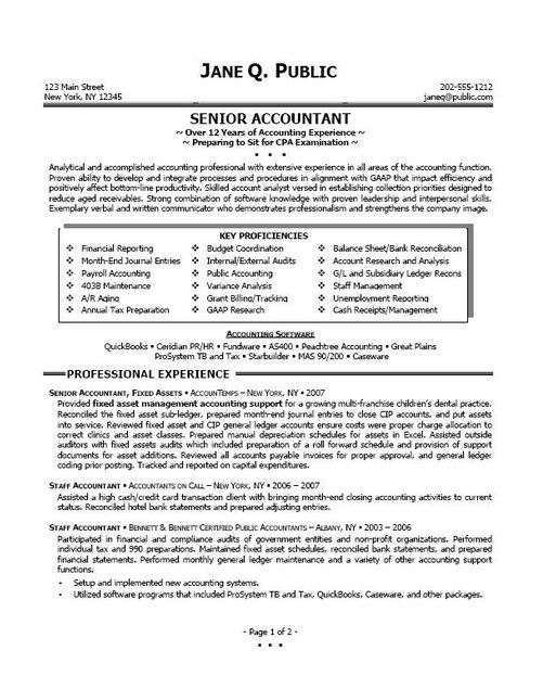 Professional Resume Samples For Accountants