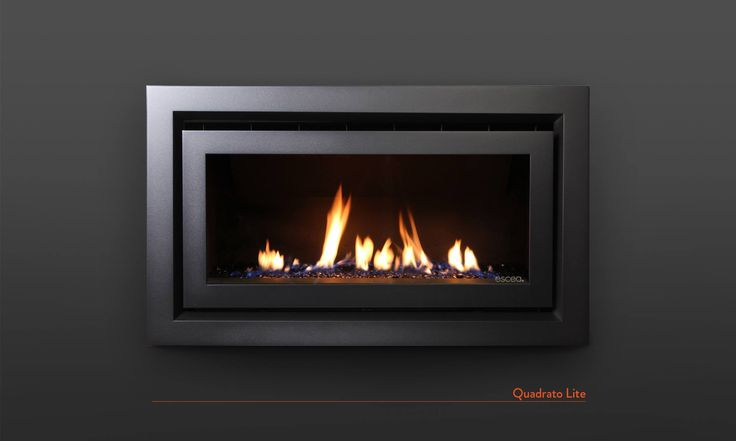 Escea DL850: Volcanic Black Quadrato Lite Fascia and Black Crystalight Fuel Bed.  www.escea.com