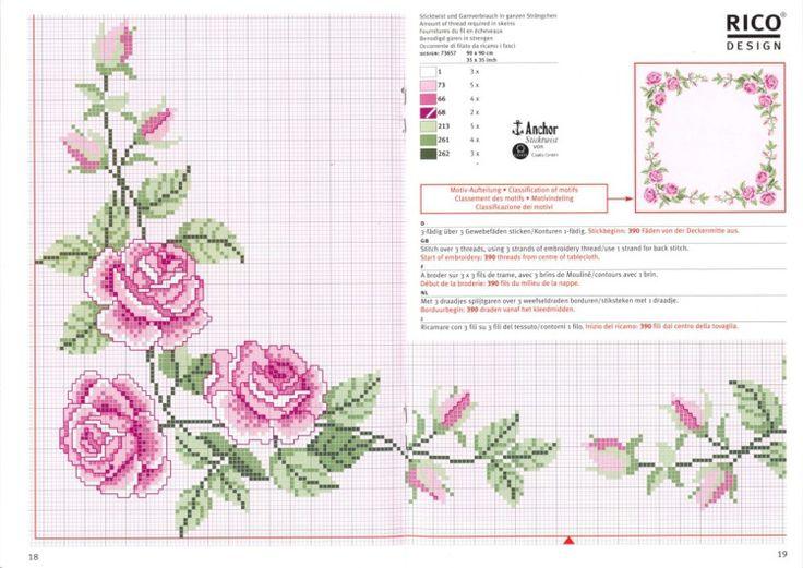 "Rose Trellis Cross stitch Corner / Border pattern . source : ""Gallery.ru / Фото #15 - 11 - gipcio"""