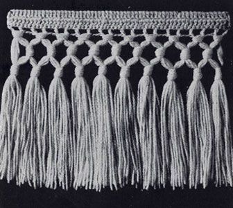 No. 3 Triple Knot Fringe pattern from Stoles & Shrugs, originally published by American Thread Co, Book No. 103, in 1953.
