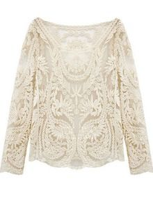 Beige Long Sleeve Hollow Crochet Lace Blouse US$13.67