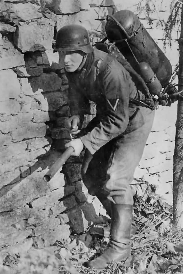 German Soldier with Flamethrower Somewhere in Russia 1941.